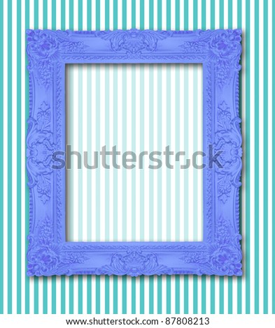 Ornamental blue frame on a stripy background, similar available in my portfolio - stock photo