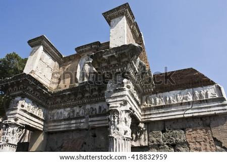 Ornamental ceiling of roman time church  - stock photo