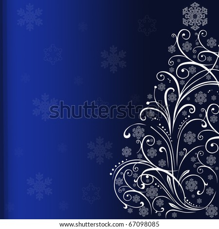 Ornamental Christmas tree on blue background. - stock photo
