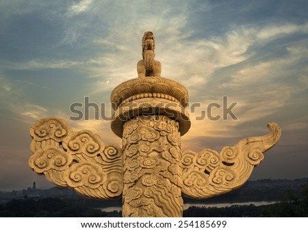 Ornamental column in Tiananmen Square against sky