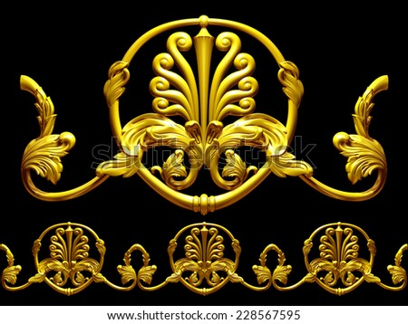 ornamental Element for a frieze, border or frame. This complements my ninety degree angle items for a circle or corner. See the set, decorative ornaments, in my portfolio. - stock photo