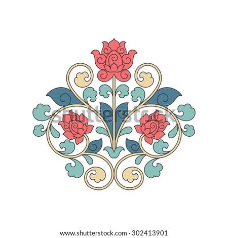 Ornamental floral element for design in China stile. Raster version. - stock photo
