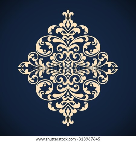 Ornamental floral element for design in vintage stile. Raster version. - stock photo