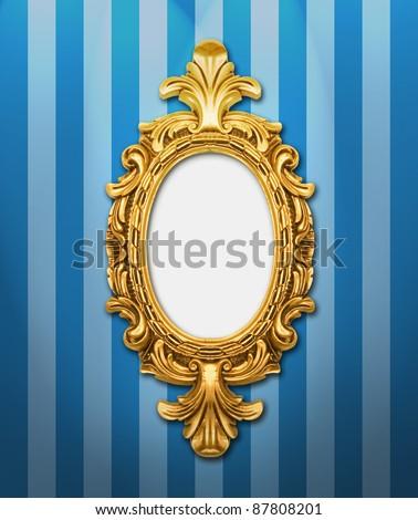 Ornamental frame on stripy wallpaper, similar available in my portfolio - stock photo