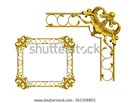 ornamental Frame Segment in Gold for Corner - stock photo