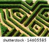 Ornamental garden with hedges of  buxus sempervirens as a labyrinth - stock photo