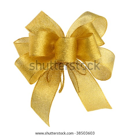 Ornamental golden bow on pure white background - stock photo