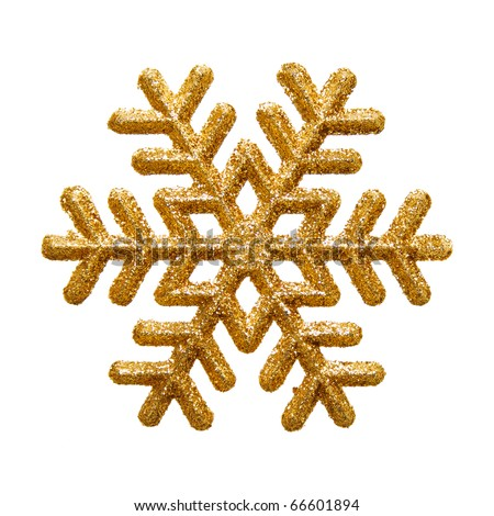 Ornamental golden snowflake glittering on pure white background - stock photo