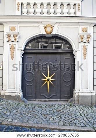 ornamental historic door in G�¶rlitz, Germany - stock photo