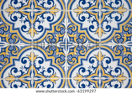 mediterranean style ceramic tile seville andalusian stock photo 125378654 shutterstock. Black Bedroom Furniture Sets. Home Design Ideas