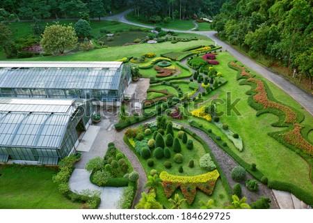 Ornamental plants garden in thailand. - stock photo