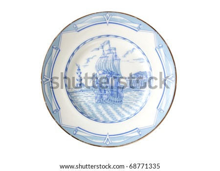 ornamental plate with sailing ship isolated on white - stock photo