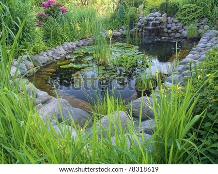 Ornamental pond with waterfall in garden - stock photo