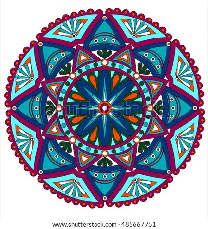 Ornamental round floral pattern. Colorful ornament with vintage elements Mandala.