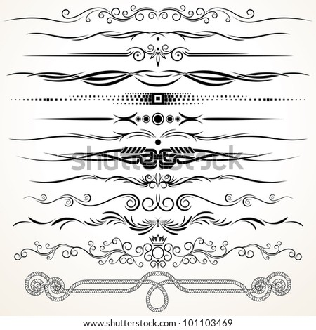 Ornamental Rule Lines. Decorative Design Elements - stock photo