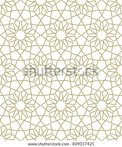 Ornamental seamless pattern. Gold background and wallpaper in Arabic style.