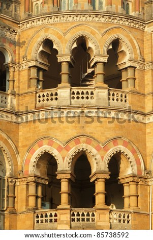 ornamental staircase in sunset light  - detail of facade of  Victoria Railway station in Mumbai, UNESCO World Heritage Site, India - stock photo