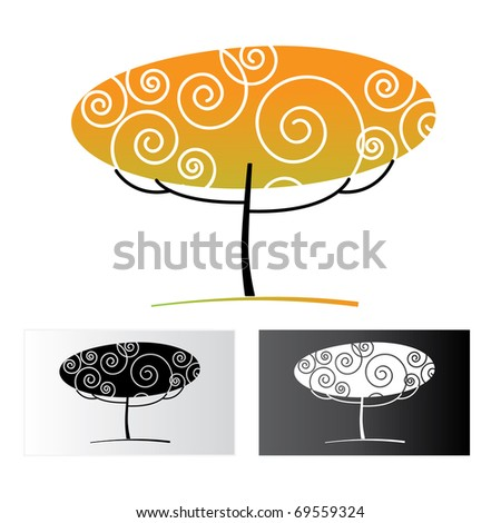 ornamental tree on a white background and black and white versions - stock photo