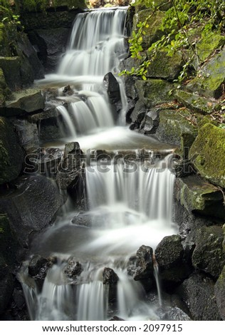 Ornamental Waterfall - Long Exposure & great detail - stock photo