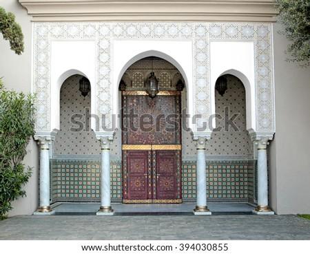 Ornamented door of a Mosque, Casablanca, Morocco - stock photo