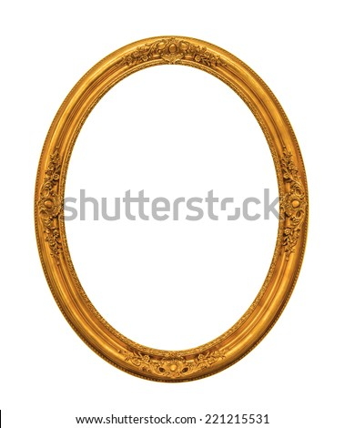 Ornamented gold plated empty picture frame Isolated on white background - stock photo