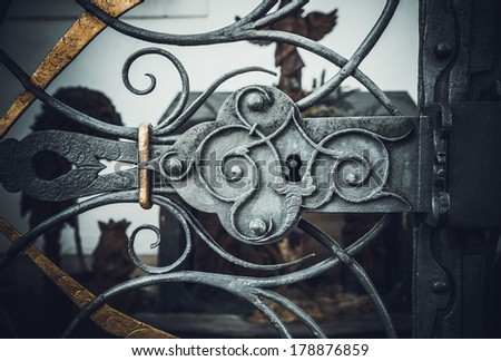 Ornamented iron fence element vintage effect abstract metal pattern - stock photo