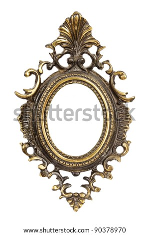 Ornamented, very old, gold plated empty picture frame for putting your pictures in. Isolated on white background. - stock photo