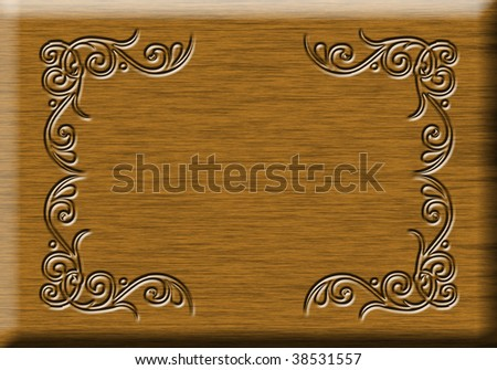 Ornamented wooden sign with space for your text - stock photo