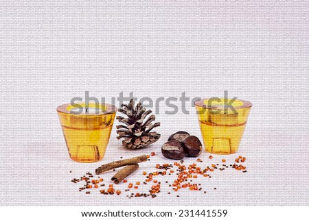 Ornaments with candles and pine cones - mosaic - stock photo