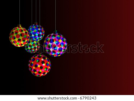 ornaments with colorful halftone patterns on a dark background - stock photo