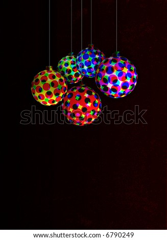 ornaments with colorful halftone patterns on a dark gritty background - stock photo