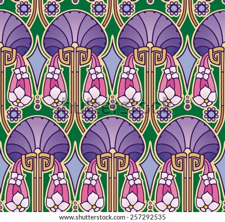 ornate abstract design in lush colors - stock photo