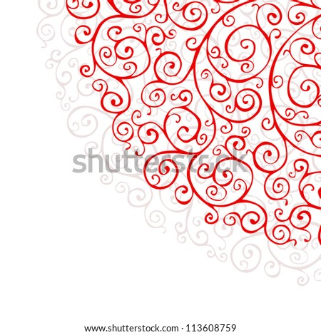 Ornate background with red ornaments raster version - stock photo