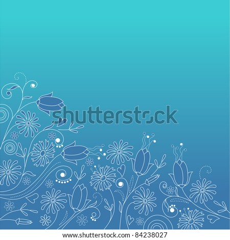 Ornate blue floral background . Raster version.