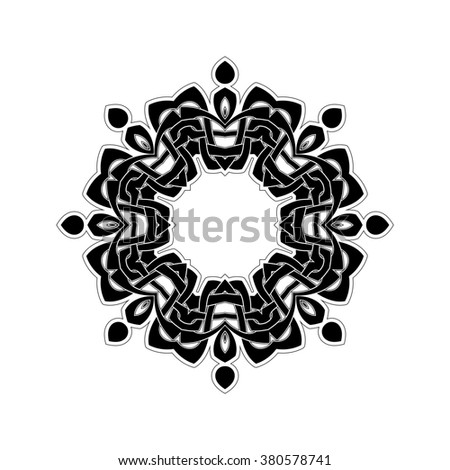 Ornate border. Gothic lace tattoo. Celtic weave with sharp corners. The circular pattern. - stock photo