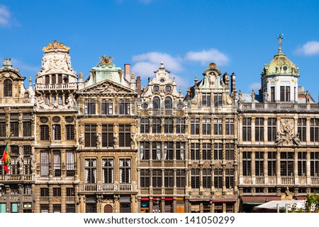 Ornate buildings of Grand Place (Grote Markt) , Brussels, Belgium