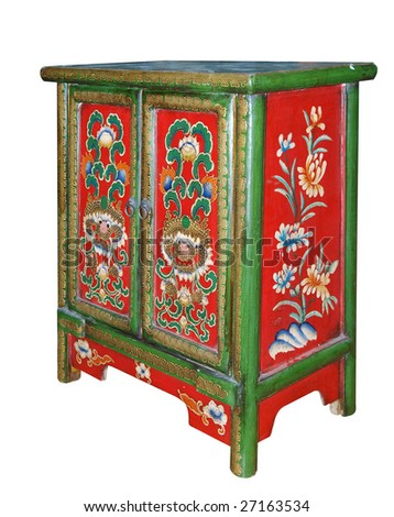 Ornate Cabinet isolated with clipping path - stock photo
