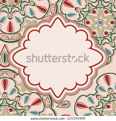 Ornate card with oriental pattern and label for text