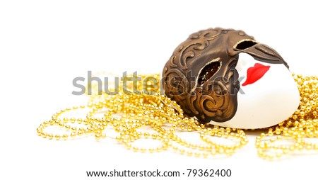 Ornate carnival mask from Venice with bead - stock photo