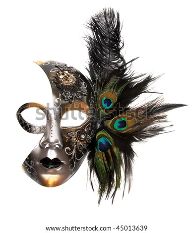 Ornate carnival mask isolated on white background