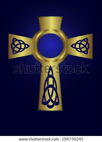 Ornate celtic gold cross on a deep blue background with starburst effect - stock photo