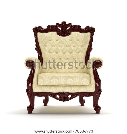 Ornate chair on a white background. Computer generated.