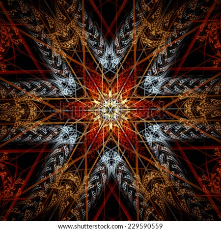 Ornate Christmas red star. Abstract winter ornament. Artistic color fantasy snowflake in vintage style. Beautiful decorated cover of your booklet, flyer, album, invitation for holiday. Fractal art - stock photo