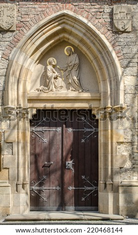 Ornate Church Gate With Gothic Arches And Brick Walls Prague The Czech Republic