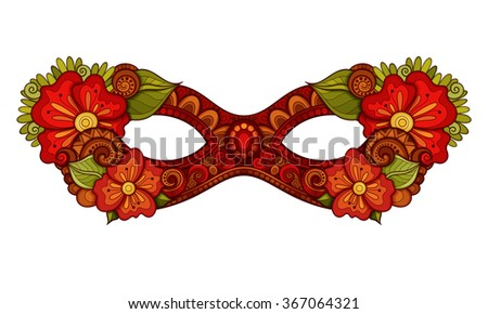Ornate Colored Mardi Gras Carnival Mask with Decorative Flowers. Object for Greeting Cards, Isolated on White Background
