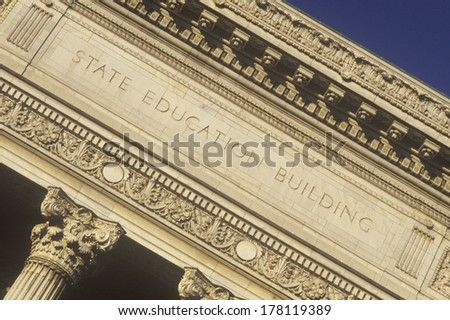 Ornate columns of the State Education Building, Albany, NY