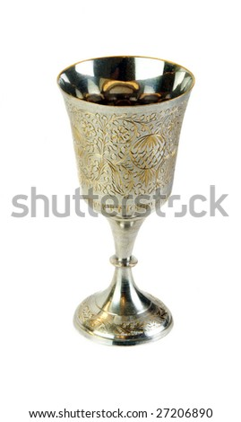 Ornate communion cup isolated on white background.