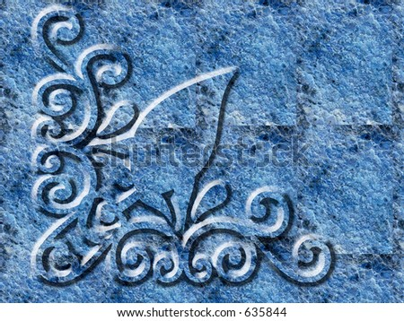 Ornate corner scrolled spiral - stock photo