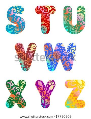 Ornate decorative letters S, T, U, V, W, X, Y, Z - part 3 of full abc set ( for vector EPS see image 17780749 )
