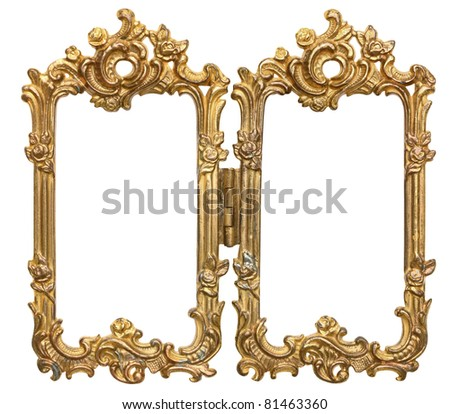 Ornate Double Frames with hinge - stock photo